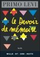 Couverture Le devoir de mémoire Editions Mille et une nuits 1997