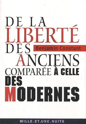 Couverture De la liberté des Anciens comparée à celle des Modernes