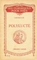 Couverture Polyeucte Editions Hatier (Les Classiques pour tous) 1931