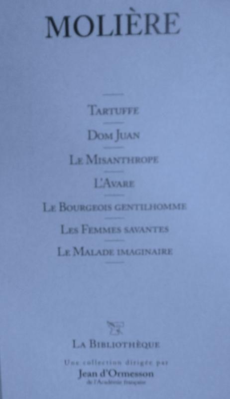 Couverture Tartuffe, Dom Juan, Le Misanthrope, L'Avare, Le Bourgeois gentilhomme, Les Femmes savantes, Le Malade imaginaire