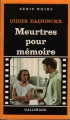 Couverture Meurtres pour mémoire Editions Gallimard  (Série noire) 1984