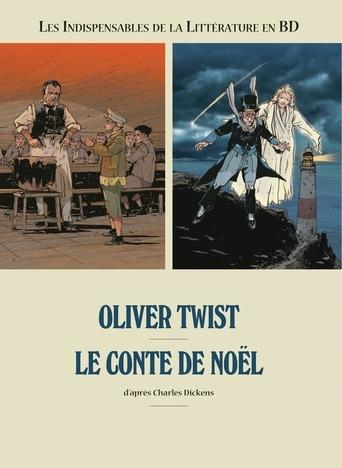 Couverture Les indispensables de la littérature en BD, double, tome 2 : Oliver Twist, Le conte de Noël