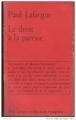 Couverture Le droit à la paresse Editions Maspero 1969