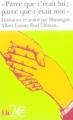 """Couverture """"Parce que c'était lui : Parce que c'était moi"""" Editions Folio  (2 €) 2004"""