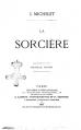 Couverture La sorcière Editions Librairie internationale A. Lacroix 1867