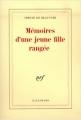 Couverture Mémoires d'une jeune fille rangée Editions Gallimard  (Blanche) 1958