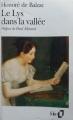 Couverture Le lys dans la vallée Editions Folio  1993