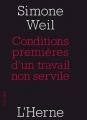 Couverture Conditions premières d'un travail non servile Editions de L'Herne 2014