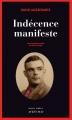 Couverture Indécence manifeste Editions Actes Sud (Actes noirs) 2016