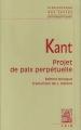 Couverture Projet de paix perpétuelle Editions Vrin 2002