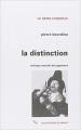 Couverture La Distinction - Critique sociale du jugement Editions de Minuit 1979