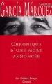 Couverture Chronique d'une mort annoncée Editions Grasset (Les Cahiers Rouges) 1981