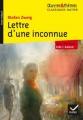Couverture Lettre d'une inconnue Editions Hatier (Classiques - Oeuvres & thèmes) 2016
