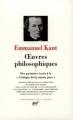 Couverture Kant : Oeuvres philosophiques, tome1 Editions Gallimard  (Bibliothèque de la pléiade) 1980