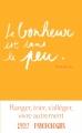 Couverture Le bonheur est dans le peu Editions First 2016