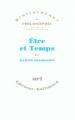 Couverture Être et Temps Editions Gallimard  (Bibliothèque de philosophie) 1986