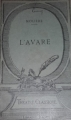 Couverture L'avare Editions Hachette 1921