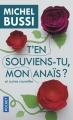 Couverture T'en souviens-tu mon Anaïs ? et autres nouvelles Editions Pocket 2017