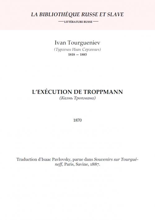 Couverture L'Exécution de Troppmann