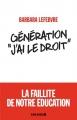 """Couverture Génération """"J'ai le droit"""" Editions Albin Michel 2018"""