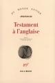 Couverture Testament à l'anglaise Editions Gallimard  (Du monde entier) 1995
