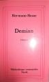 Couverture Demian  Editions Stock (Bibliothèque cosmopolite) 1991