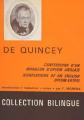 Couverture Les confessions d'un mangeur d'opium anglais Editions Aubier Montaigne 1964