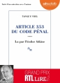 Couverture Article 353 du code pénal Editions Audiolib 2017
