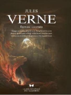 Couverture Jules Verne, illustré : Voyage au centre de la terre, De la terre à la lune, Autour de la lune, Vingt mille lieues sous les mers, Le tour du monde en 80 jours, L'île mystérieuse
