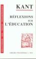 Couverture Réflexion sur l'éducation Editions Vrin 1996