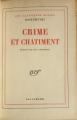 Couverture Crime et châtiment, intégrale Editions Gallimard  1957