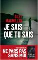 Couverture Je sais que tu sais Editions Les Escales (Noires) 2019