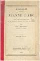 Couverture Jeanne d'Arc Editions Hachette 1921
