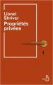 Couverture Propriétés privées Editions Belfond 2020