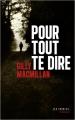 Couverture Pour tout te dire Editions Les Escales (Noires) 2021