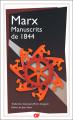 Couverture Manuscrits de 1844 Editions Flammarion (GF) 2021