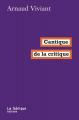 Couverture Cantique de la critique Editions La Fabrique 2021