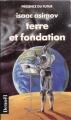 Couverture Fondation, tome 7 : Le Cycle de Fondation, partie 5 : Terre et fondation Editions Denoël (Présence du futur) 1989