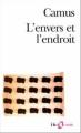 Couverture L'envers et l'endroit Editions Folio  (Essais) 1973