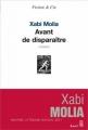 Couverture Avant de disparaître Editions Seuil 2011