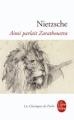 Couverture Ainsi parlait Zarathoustra Editions Le Livre de Poche (Les Classiques de Poche) 1972