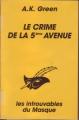 Couverture Le crime de la 5ème avenue Editions du Masque 1996
