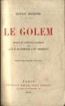 Couverture Le Golem Editions Emile-Paul Frères 1929