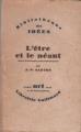 Couverture L'être et le néant Editions Gallimard  (Bibliothèque des idées) 1943