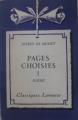 Couverture Pages choisies, tome 1 : Poésie Editions Larousse (Classiques) 1959