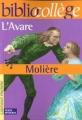 Couverture L'Avare Editions Hachette (Biblio collège) 2000