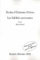 Couverture Les fidélités successives Editions 2012