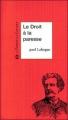 Couverture Le droit à la paresse Editions Le temps des cerises 1996