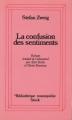 Couverture La confusion des sentiments Editions Stock (Bibliothèque cosmopolite) 1984